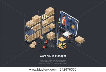 Isometric Warehouse Online Manager Concept. The Process Of Online Warehouse Management Compositions