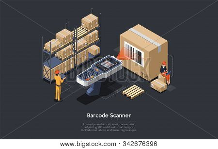 Isometric Warehouse Manager Or Warehouse Worker With Big Barcode Scanner Is Checking Goods. Process