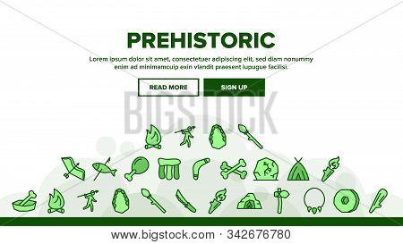 Prehistoric Primitive Landing Web Page Header Banner Template Vector. Bone In Bowl And Chicken Leg,