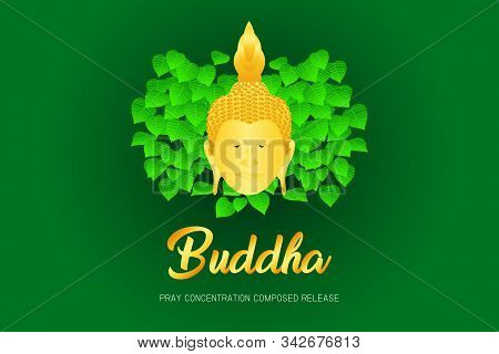 Buddha Monk Phra Pray Concentration Composed Release Front Of Pho Leaf Religion Culture Faith Vector