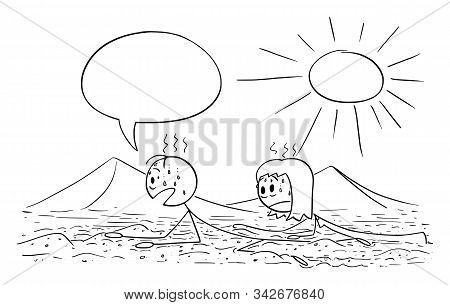 Vector Cartoon Stick Figure Drawing Conceptual Illustration Of Couple, Tourists Or Travelers Creepin