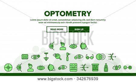 Optometry Eye Health Landing Web Page Header Banner Template Vector. Eyeglasses And Doctor Optometry