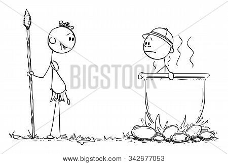 Vector Cartoon Stick Figure Drawing Conceptual Illustration Of Native Cannibal Man Salivating, While