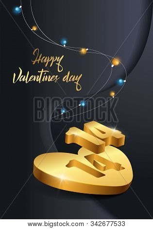 Vector Stock Illustration With Realistic 3d Gold Heart For 14 February With Shining Blue, Gold Light