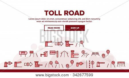 Toll Road Highway Landing Web Page Header Banner Template Vector. Toll Expressway With Barrier Gate,
