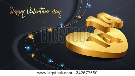 Holiday card Happy Valentines Day navy blue background, banner design for love concept. Realistic 3d gold heart vector stock illustration for 14 february with shining blue, gold lights garland.