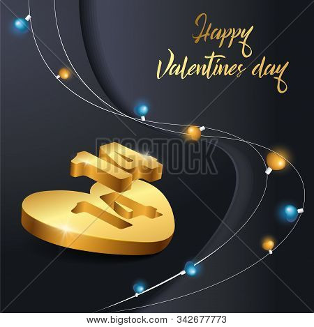 Holiday card Happy Valentines Day navy blue background design. Romantic composition with realistic 3d gold heart shape vector stock illustration for 14 february. Shining blue, gold lights garland.