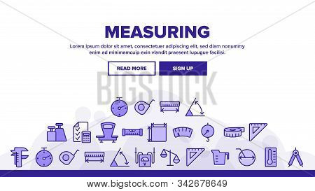 Measuring Equipment Landing Web Page Header Banner Template Vector. Measuring Compass And Thermomete