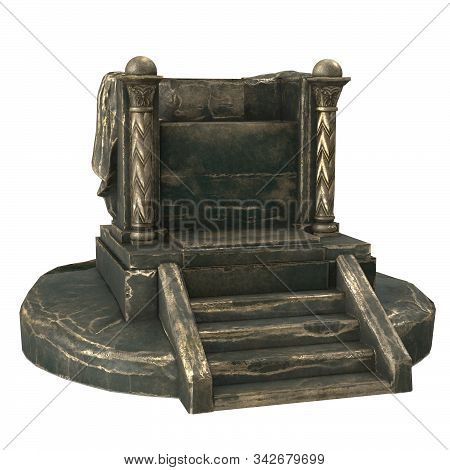 Metal Antique Throne With Columns, On An Isolated White Background. 3d Illustration