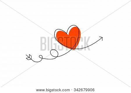 Cupid S Arrow In The Continuous Drawing Of Lines In The Form Of A Heart And The Text Love In A Flat
