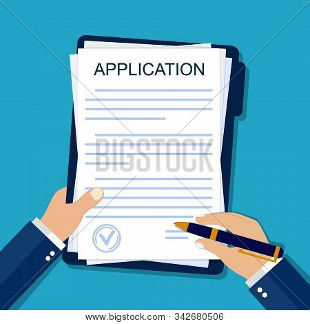 Application Form On Paper. Hand Signs Agreement Document In Flat Style. Legal Paperwork On Isolated