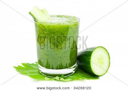 Fresh green healthy cucumber smoothie on a white background
