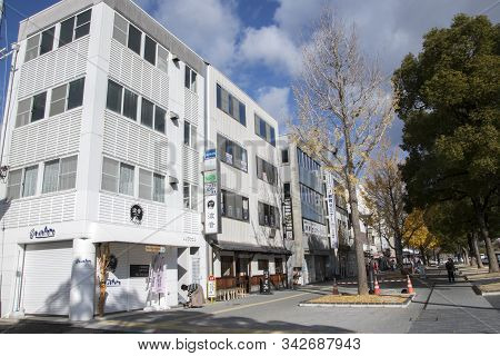 Himeji, Japan- 30 Nov, 2019: Street At Himeji In Autumn, Japan. Himeji Known For The Sprawling, Cent