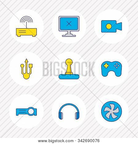 Vector Illustration Of 9 Computer Icons Colored Line. Editable Set Of Headphones, Offline Computer,