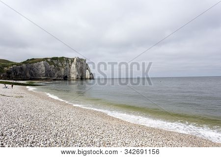 Etretat, France - August 13, 2016: Nice View Of Etretat With Tourists In France