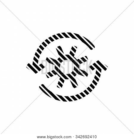 Stripped Gear With Reprocessing Sign Line Icon. Update, Cycle, Arrow Made Of Lines. Stock Vector Ill