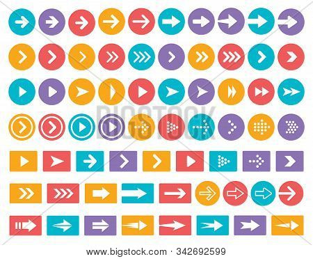 Arrows Color Vector Icon Set. Arrow In Circle And Rectangle Isolated Symbols Pack. Next, Forward, Pr