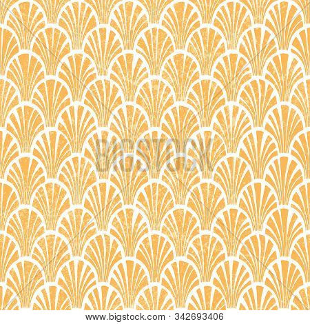 Seigaiha Seamless Wavy Pattern. Grunge Texture. White And Orange Colors. Print For Textiles.