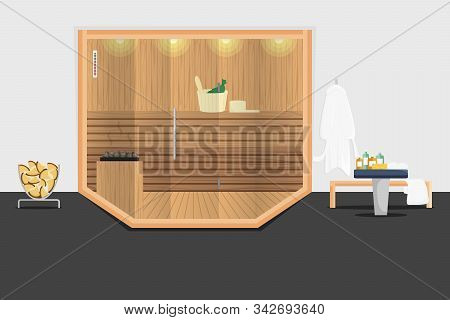 Vector Illustration Of Wooden Sauna Room With Glass Door. Concept Flat Design Of Bath House With Rel
