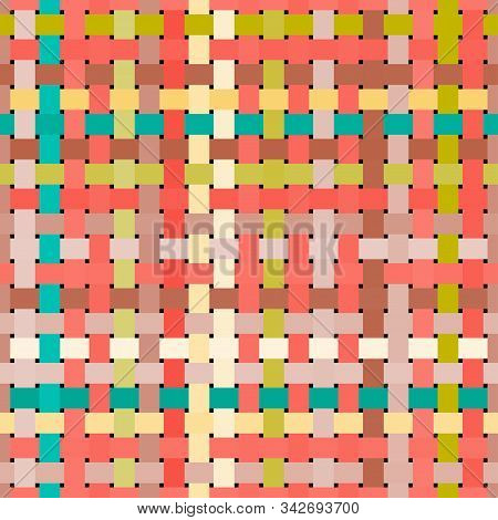 Seamless Geometric Pattern. Multicolored Squares Print For Textiles, Packaging.