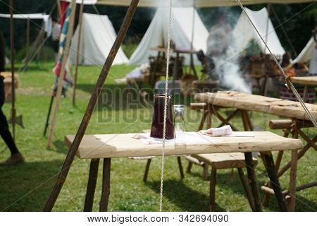 Medieval Tent Camp Photographed At A Festival In Germany
