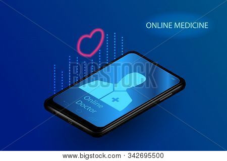 Doctor Online Medical App Mobile Applications. Digital Healthcare Medicine Diagnosis Concept Banner.