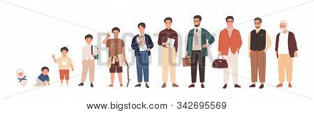 Man Life Cycle Flat Vector Illustration. Male Person Aging Stages, Guy Growth Phases Set. Boy Growin