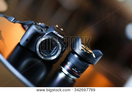Bucharest, Romania - January 1, 2020: Professional Canon Dslr Camera With Samyang Ultrawide Lens On