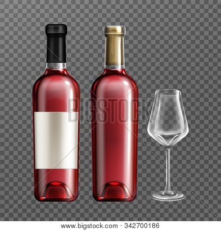 Wine Glass Bottles With Red Liquid And Empty Drinking Glass Realistic Vector Illustration. Clear Win