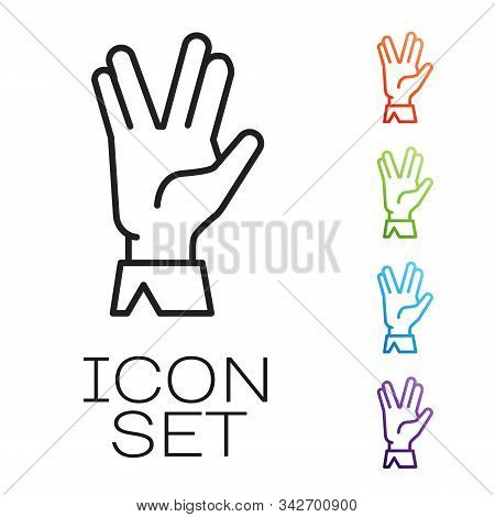 Black Line Vulcan Salute Icon Isolated On White Background. Hand With Vulcan Greet. Spock Symbol. Se