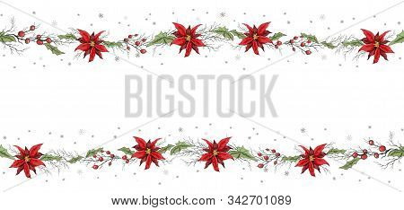 Seamless Border Decoration Of Poinsettia Flowers And Rowan Branches. Hand-drawn Doodles In The Style