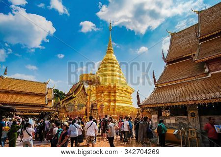 Wat Phra That Doi Suthep, Landmark And Popular Spot For Tourists Attractions. Chiang Mai, Thailand,
