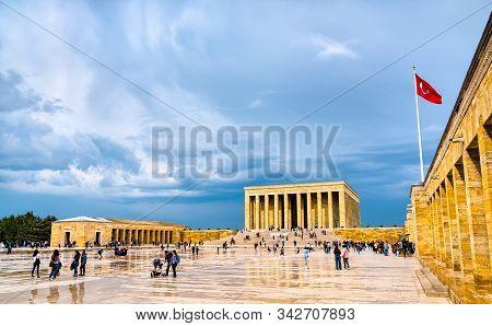 Ankara, Turkey - May 18, 2019: Anitkabir, The Mausoleum Of Mustafa Kemal Ataturk, The Leader Of The