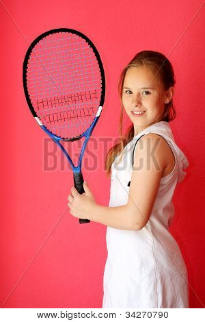 13-years old girl tennis player with racket