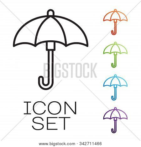 Black Line Umbrella Icon Isolated On White Background. Waterproof Icon. Protection, Safety, Security