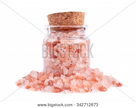 Himalayan Pink Salt In Glass Jar, Isolated On White Background. Himalayan Pink Salt In Crystals.