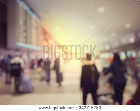 Blurred Image Abstract Background Of People Or Passenger Walking In Or Hurry Up In Airport Transport