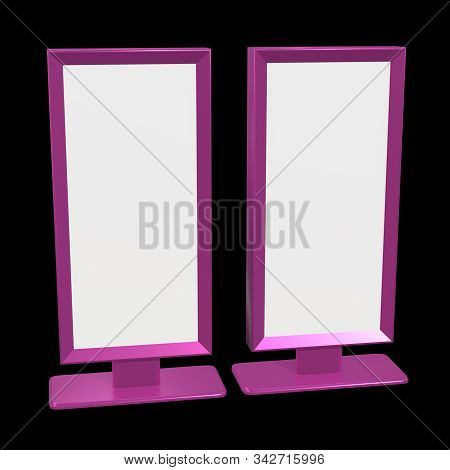 Lcd Screen Stand. Blank Trade Show Booth. 3d Render Of Lcd Tv On Black Background. High Resolution.