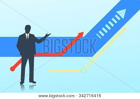 Silhouette Of A Businessman. Upward Movement, Vector Illustration