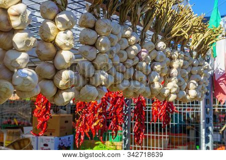 Garlic And Other Vegtables On Sale In The Jean-talon Market Market, Little Italy District, Montreal,