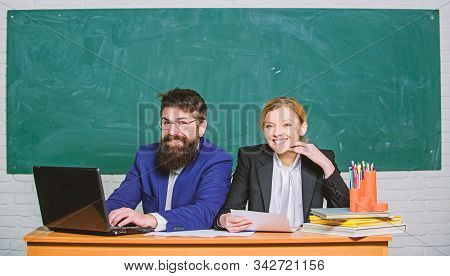 Business Couple Use Laptop And Documents. Paper Work. Office Life. Teacher And Student On Exam. Back
