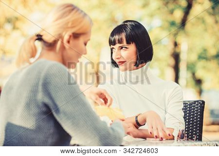 Friendship Meeting. Trustful Communication. Friendship Or Rivalry. Girls Friends Drink Coffee Talk.