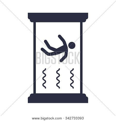 Wind Tunnel Flat Icon On A White Background. Entertainment With Gravity. Float In The Air. Flat Vect