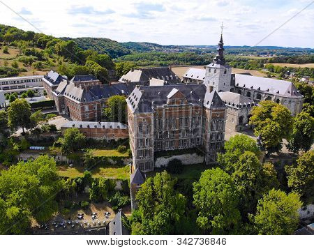 Aerial View Of Floreffe Abbey During Summer Day, Belgium. Old Abbey Where They Produced Famous Flore