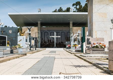 Architectural Detail Of The Entrance To The Village Cemetery Of Vila Cha, Portugal