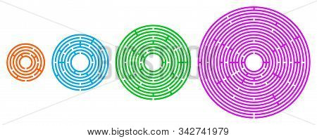 Four Colored Circular Mazes In Different Sizes. Radial Labyrinths In Orange, Blue, Green And Pink Co