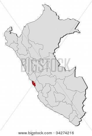 Map Of Peru, Lima Region Highlighted