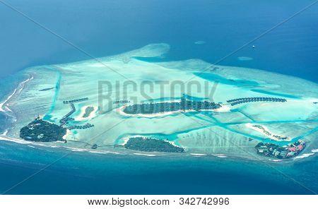 Bird Eye View Of Maldive Island Colorful Sea And Luxury Resort In Maldive Atolls Top View Of Coconut