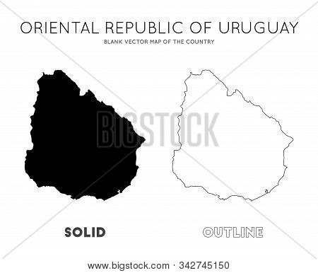 Uruguay Map. Blank Vector Map Of The Country. Borders Of Uruguay For Your Infographic. Vector Illust