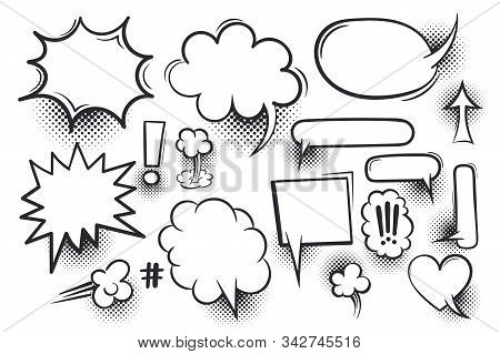 Comic Text Speech Bubble Pop Art Style Halftone Background. Set White Cloud Talk Speech Bubble. Isol
